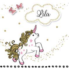 Drieluik geboortekaart unicorn voor een meisje. #geboortekaart #geboortekaartje #geboortekaarten #geboortekaartjes #geboorteaankondiging #meisje #dochter #dochtertje #baby #babygirl #unicorn #wolk #stipjes #vlinders