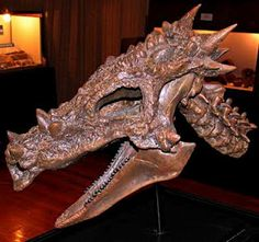 That's a real dinosaur skull.  Dracorex Hogwartsia.  How awesome is that!  Of course any witch would want a dragon skull in her kitchen!