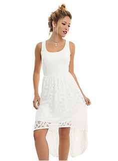 """<p class=""""MsoNormal""""><font face=""""Times New Roman, serif"""">Finish saving the world, go party. This white high-low dress is inspired by the dress worn by Buffy in <i>Prophecy Girl</i>to both slay the master, and slay at the school dance. It's got an empire waist, princess seams along the bodice, and a lace overlay skirt the features</font><span style=""""font-family: """"Times New Roman"""", serif; font-size: 11pt;"""">stakes, crosses, axes, Claddagh rings, and B's.</span></p>  <ul"""