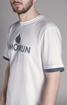 White tee with gray details. www.amokrun.com