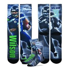 Russell Wilson Seatle Seahawks NFL Drive Player Profile Crew Socks Large 10-1