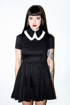 NEW Roselle Dress Black Twill and White Trim
