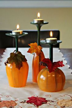 Fall Table Centerpiece Pumpkin Wine Glasses- Thanksgiving Wine Glasses- Candle holder- Set of Hand Painted Wine Glasses fall crafts diy thanksgiving - Diy Fall Crafts Fall Table Centerpieces, Decoration Table, Wine Glass Centerpieces, Centrepiece Ideas, Decoration Crafts, Pumpkin Wine, Wine Glass Candle Holder, Candle Holders, Candle Stand