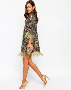 Buy ASOS RED CARPET Paisley Embellished T Shirt Mini Dress With Fringe Sleeves at ASOS. With free delivery and return options (Ts&Cs apply), online shopping has never been so easy. Get the latest trends with ASOS now. Maxi Dresses Uk, Evening Dresses, Fashion Dresses, T Shirt Dress Uk, Dress Me Up, King Dress, Mini Dresses For Women, Asos, Chiffon Dress
