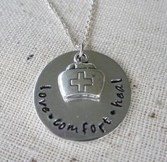 Hand Stamped Aluminum Necklace / Nurse Pendant / by kimgilbert3, $16.00