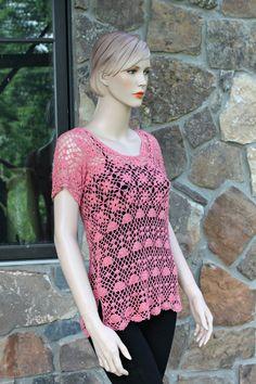 Peach Crochet Lace Blouse