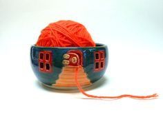Hobbit House Ceramic Yarn Bowl by Uturn on Etsy, $38.00  #knittingbowl  #yarnbowl #potterycottage