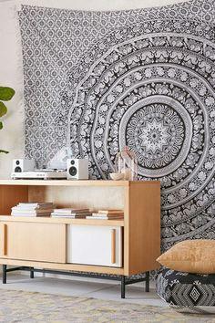 Stoff Elefanten - SCHWARZE Und WEISSE Tagesdecke Wandbehängen - ein Designerstück von HomeRaas bei DaWanda