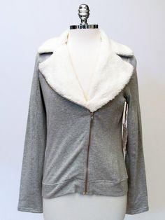 Azura Boutique - Pink Lotus Sweatshirt Jacket with Furry Trim, $150.00 (http://www.shopazura.com/pink-lotus-sweatshirt-jacket-with-furry-trim/)