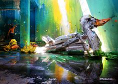Street artist Bordalo II (or Bordalo Segundo) is a master of street art interventions. Not only from painting vibrant and colourful murals, but by creating incredible sculpture installations out of found or recycled materials. 3d Street Art, Street Artists, Graffiti, Street Installation, Urbane Kunst, Trash Art, Bright Paintings, Colossal Art, Colorful Artwork