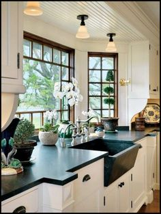 Love this kitchen what a window! Just without the weird jut outs on the counter. I want clean home design house design interior design room design room design Beautiful Kitchens, House Design, Dream Kitchen, House, Home, Kitchen Remodel, New Homes, House Interior, Kitchen Design
