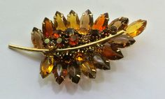 Vintage Leaf Brooch With Orange,Yellow, Light And Dark Topaz Rhinestones