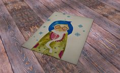 Cute blue hair spectacled girl at winter session in green dress. Original artwork not a print . White scarf and blue snowflakes. by Trippyhandmades on Etsy