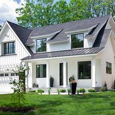 New Ideas house exterior design modern farmhouse plans Exterior Siding, Exterior House Colors, Exterior Paint, Exterior Design, Siding Colors, Exterior Windows, Black Exterior, Roof Design, Gray Siding