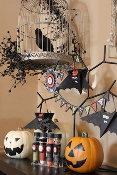 Halloween decorations. Petal cone die bats, Pennant punch banner, decorated tubes