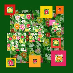 Flower Pattern Art Quilt  http://irina-sztukowski.artistwebsites.com/featured/flower-pattern-art-quilt-iii-irina-sztukowski.html #countrystyle #country #vintage #vintagecountry #cuteandcozy #painting #homedecor #art