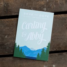 Mountain Wedding Save the Date Card  The by starboardpress on Etsy, $3.50