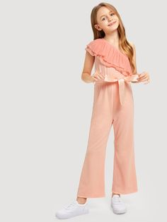 SHEIN offers Girls Asymmetrical Neck Ruffle Belted Jumpsuit & more to fit your fashionable needs. Kids Outfits Girls, Dresses Kids Girl, Girls Fashion Clothes, Kids Fashion, Girl Outfits, Casual Outfits, Cute Outfits, Fashion Outfits, Rompers For Kids