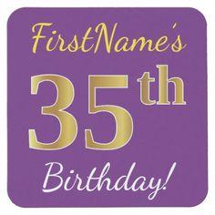 Purple, Faux Gold 35th Birthday + Custom Name Square Paper Coaster