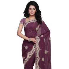 For Indian Bridesmaid: Purple Shimmer Faux Georgette Saree