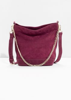 & Other Stories image 1 of Suede Bucket Bag in Plum