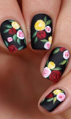 We have compiled a picture gallery of our favorite ideas for matte nail polish that we know you'll love! Matte nails are totally trendy and stunning! Rose Nail Art, Floral Nail Art, Rose Nails, New Nail Art, Flower Nails, Elegant Nail Designs, Diy Nail Designs, Elegant Nails, Gorgeous Nails