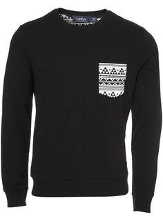 Black Geo Patch Sweatshirt - Topman