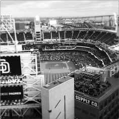 We love the black & white shot of Petco Park! Photo credit goes to Eric Sakimoto. #sandiego #petco #view #padres