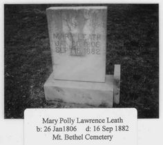 Mary Polly Lawrence Leath 1806-1882