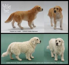 A transformed dollhouse miniature scale Golden Retriever using a painted Schleich pvc commercial model, flocking, and alpaca yarn for a lifelike fuzzy texture. Needle Felted Animals, Felt Animals, Needle Felting, Miniature Dogs, Miniature Crafts, Dollhouse Tutorials, Mini Dogs, Felt Dogs, Golden Retriever