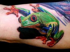 3D Red Eyed Tree Frog tattoo