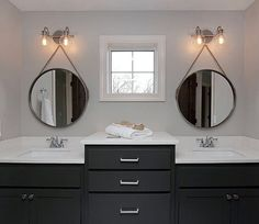 Seeing double with these nautical, round bathroom mirrors