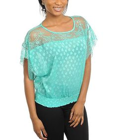 Another great find on #zulily! Mint Ruched Lace Cape-Sleeve Top #zulilyfinds