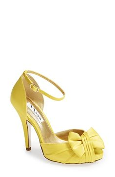Free shipping and returns on Nina 'Ella' Sandal (Women) at Nordstrom.com. Pretty pleats and a soft bow accent the flirty open toe of a lustrous satin sandal topped with a slender ankle strap.