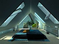 Attic turned into a modern bedroom
