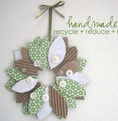Upcycled Cardboard Wreath | AllFreeHolidayCrafts.com