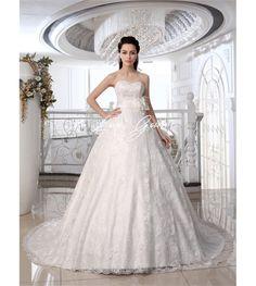 Ivory A-line Strapless Sweetheart Neck Beading Court Train Brides Wedding Dress  $229.88