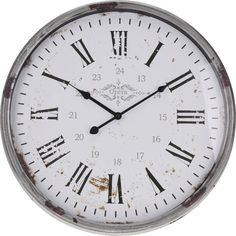 A Rustic Metal Silver Clock with worn Roman numerals to give an aged look. A lovely shabby chic item to enhance any home. Diameter 52cm Depth 9cm.  Please take a look at our other items for sale. We can offer discounts on some items when multiple items are purchased.  We aim to send items out within 1 working day but this may take a little longer during busier periods. Please add your mobile number to the 'Message to Seller' section if you would like to receive tracking updates when items…