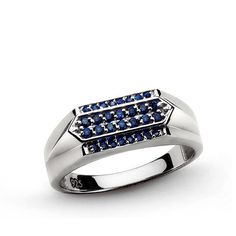 925K Sterling Silver Mens Ring 0.14ct NATURAL BLUE SAPPHIRES Ring all sizes