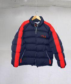 612c205218 Vintage 90s Fila Hip Hop Rap Style Goose Down Puffer jacket Color Block  Navy Blue