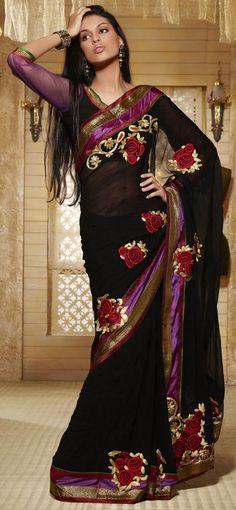 Roses and Black Saree. Pakistani Outfits, Indian Outfits, Indian Clothes, India Fashion, Ethnic Fashion, Indian Attire, Indian Wear, Beautiful Saree, Beautiful Dresses