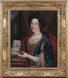 ÉCOLE FRANÇAISE du XVIIe siècle Portrait de femme et de son chien huile sur toile,