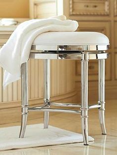Newbury Bath Stool Restoration Hardware Polished Nickel With White Washab