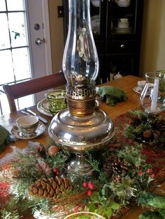 "Hello everyone! We are snug and cozy inside with Johnson Brothers ""Friendly Village"" while the weather outside is still frightful! We wil. Christmas Lamp, Christmas Table Settings, Christmas Tablescapes, Christmas Centerpieces, Xmas Decorations, Christmas Holidays, Christmas Crafts, Holiday Tablescape, Christmas Ideas"
