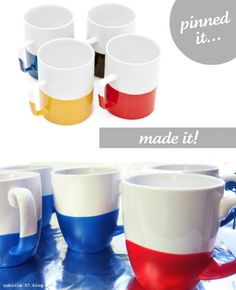 Adorable dipped mugs -- I've also seen this done on silverware and it's also super cute