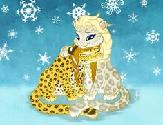 Anna and Elsa as leopards by Wonie