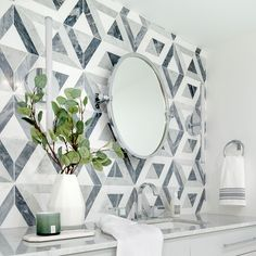 Inspired by Kelly Wearstler's love of geometric patternwork and architectural details and the unstated, yet remarkable beauty of precise, clean symmetry, Liaison by Kelly Wearstler offers stone designs that are visually striking and boldly distinctive. Designer: Ann Ueno Interior Design Photography: Jacqueline Knabben Tile Accent Wall, Interior Design Photography, Bathroom Flooring, Kitchen Backsplash, Sacks, Ann, Stone, Kelly Wearstler, Laundry Rooms