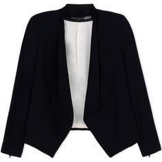 Alice+Olivia Blazer (6.620.175 IDR) ❤ liked on Polyvore featuring outerwear, jackets, blazers, tops, black, black jacket, long sleeve jacket, long sleeve blazer, black blazer and alice olivia jacket