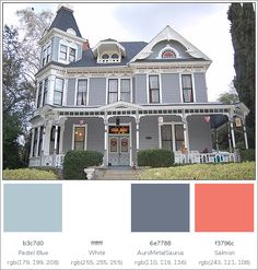 This lovely House Exterior has 4 colors combination with Pastel Blue, White, AuroMetalSaurus and Salmon. Exterior Color Combinations, Color Schemes, Exterior House Colors, Exterior Paint, Color Swatches, Other Rooms, Pastel Blue, House Painting, Salmon