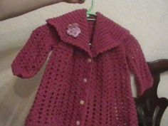 Crochet - Pink cardigan Part 3 Crochet Baby Jacket, Crochet Cardigan, Knit Crochet, Knitting Videos, Crochet Videos, Bandeau Crochet, Baby Pullover, Crochet Poncho Patterns, Baby Sweaters